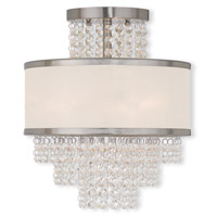 Livex 50793-91 Prescott 3 Light 12 inch Brushed Nickel Flush Mount Ceiling Light