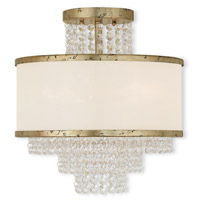 Prescott 3 Light 14 inch Hand Applied Winter Gold Flush Mount Ceiling Light