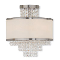 Prescott 3 Light 14 inch Brushed Nickel Flush Mount Ceiling Light