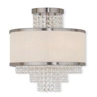 Livex 50794-91 Prescott 3 Light 14 inch Brushed Nickel Flush Mount Ceiling Light