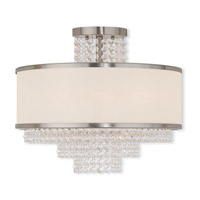 Livex Lighting Prescott 5 Light Flush Mount in Brushed Nickel 50795-91