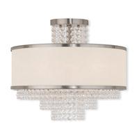 Livex 50795-91 Prescott 5 Light 18 inch Brushed Nickel Flush Mount Ceiling Light