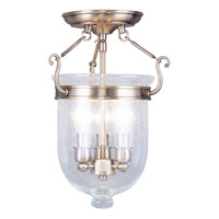 Livex Lighting Jefferson 3 Light Ceiling Mount in Antique Brass 5081-01