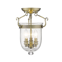 Jefferson 3 Light 10 inch Antique Brass Ceiling Mount Ceiling Light in Seeded