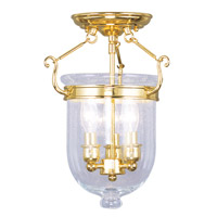 Jefferson 3 Light 10 inch Polished Brass Ceiling Mount Ceiling Light in Seeded