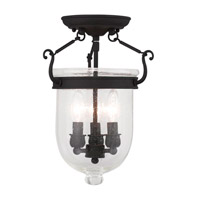 Livex 5081-04 Jefferson 3 Light 10 inch Black Ceiling Mount Ceiling Light in Seeded