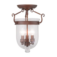 Jefferson 3 Light 10 inch Vintage Bronze Ceiling Mount Ceiling Light in Seeded