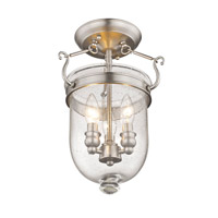 Livex 5081-91 Jefferson 3 Light 10 inch Brushed Nickel Ceiling Mount Ceiling Light in Seeded alternative photo thumbnail