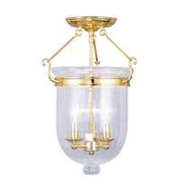 Livex Lighting Jefferson 3 Light Ceiling Mount in Polished Brass 5082-02