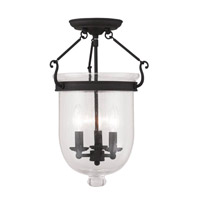 Jefferson 3 Light 12 inch Black Ceiling Mount Ceiling Light in Seeded