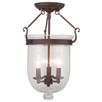 Livex 5082-58 Jefferson 3 Light 12 inch Imperial Bronze Ceiling Mount Ceiling Light in Seeded
