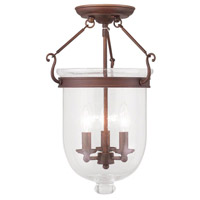 Livex 5082-70 Jefferson 3 Light 12 inch Vintage Bronze Ceiling Mount Ceiling Light in Seeded