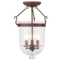 Livex 5082-70 Jefferson 3 Light 12 inch Vintage Bronze Ceiling Mount Ceiling Light in Seeded