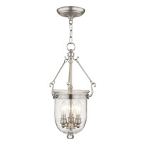 Jefferson 3 Light 10 inch Brushed Nickel Pendant Ceiling Light in Seeded