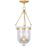 Livex Lighting Jefferson 3 Light Pendant in Polished Brass 5084-02