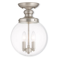 Livex 50903-91 Sheffield 2 Light 10 inch Brushed Nickel Flush Mount Ceiling Light photo thumbnail