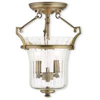 Livex 50921-01 Cortland 2 Light 11 inch Antique Brass Flush Mount Ceiling Light