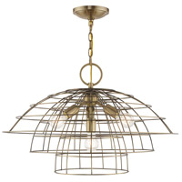 Livex 50948-01 Brooklyn 4 Light 28 inch Antique Brass Chandelier Ceiling Light