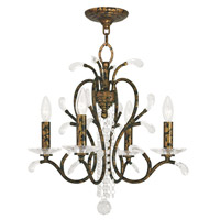 Serafina 4 Light 20 inch Hand Applied Venetian Golden Bronze Mini Chandelier Ceiling Light
