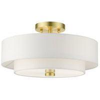 Livex 51044-12 Meridian 3 Light 15 inch Satin Brass Semi Flush Ceiling Light