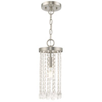 Livex 51062-91 Elizabeth 1 Light 6 inch Brushed Nickel Mini Pendant Ceiling Light