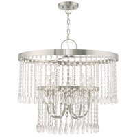 Livex 51065-91 Elizabeth 5 Light 24 inch Brushed Nickel Pendant Chandelier Ceiling Light