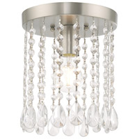Livex 51066-91 Elizabeth 1 Light 8 inch Brushed Nickel Flush Mount Ceiling Light