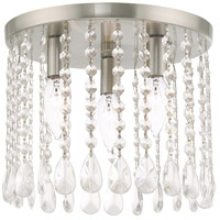 Livex 51067-91 Elizabeth 3 Light 11 inch Brushed Nickel Flush Mount Ceiling Light