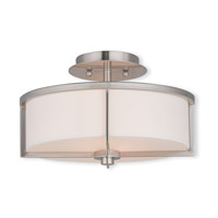 Livex 51073-91 Wesley 2 Light 13 inch Brushed Nickel Flush Mount Ceiling Light