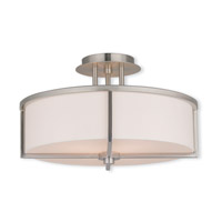 Livex 51074-91 Wesley 3 Light 16 inch Brushed Nickel Flush Mount Ceiling Light