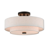 Claremont 3 Light 15 inch English Bronze Semi Flush Mount Ceiling Light
