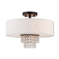 Livex 51096-92 Carlisle 3 Light 15 inch English Bronze Semi Flush Mount Ceiling Light