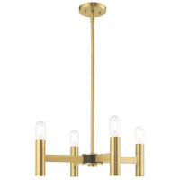 Livex 51134-12 Copenhagen 4 Light 20 inch Satin Brass Mini Chandelier Ceiling Light