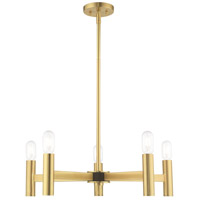 Livex 51135-12 Copenhagen 5 Light 25 inch Satin Brass Chandelier Ceiling Light