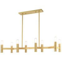 Livex 51138-12 Copenhagen 8 Light 40 inch Satin Brass Linear Chandelier Ceiling Light