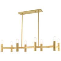 Livex 51138-12 Copenhagen 8 Light 40 inch Satin Brass Linear Chandelier Ceiling Light