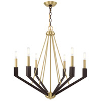 Livex 51166-12 Beckett 6 Light 26 inch Satin Brass and Bronze Chandelier Ceiling Light