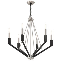 Livex 51166-91 Beckett 6 Light 26 inch Brushed Nickel and Black Chandelier Ceiling Light alternative photo thumbnail