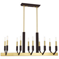 Livex 51168-12 Beckett 10 Light 40 inch Satin Brass and Bronze Linear Chandelier Ceiling Light