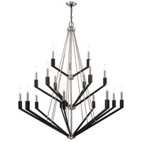 Livex 51169-91 Beckett 18 Light 44 inch Brushed Nickel and Black Foyer Chandelier Ceiling Light