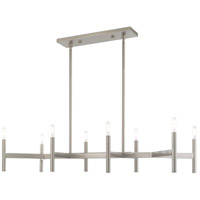 Livex 51178-91 Copenhagen 8 Light 40 inch Brushed Nickel Linear Chandelier Ceiling Light