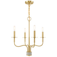 Lisbon 4 Light 20 inch Satin Brass Mini Chandelier Ceiling Light
