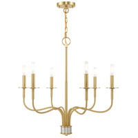 Lisbon 6 Light 26 inch Satin Brass Chandelier Ceiling Light
