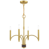 Livex 51334-12 Wisteria 4 Light 20 inch Satin Brass Mini Chandelier Ceiling Light