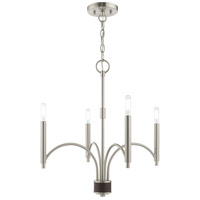 Livex 51334-91 Wisteria 4 Light 20 inch Brushed Nickel Mini Chandelier Ceiling Light