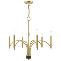 Livex 51336-12 Wisteria 6 Light 26 inch Satin Brass Chandelier Ceiling Light