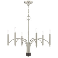 Livex 51336-91 Wisteria 6 Light 26 inch Brushed Nickel Chandelier Ceiling Light