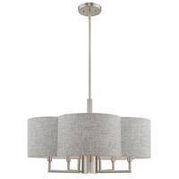 Livex 51365-91 Kalmar 6 Light 24 inch Brushed Nickel Pendant Chandelier Ceiling Light