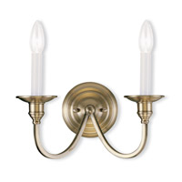 Livex Lighting Cranford 2 Light Wall Sconce in Antique Brass 5142-01