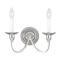 Livex Lighting Cranford 2 Light Wall Sconce in Polished Nickel 5142-35